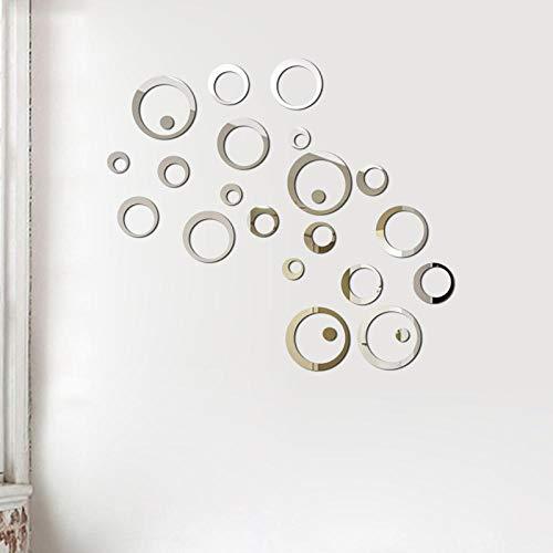 Adesivi murali specchio 3D specchio rotondo fai da te TV sfondo soggiorno decorazione della parete camera da letto bagno decorazione della casa-argenteo_B_24PCS