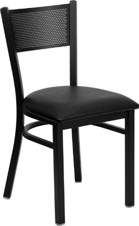 Flash Furniture HERCULES Series Black Grid Back Metal Restaurant Chair - Black Vinyl Seat