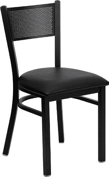 Flash Furniture 4 Pk HERCULES Series Black Grid Back Metal Restaurant Chair Black Vinyl Seat