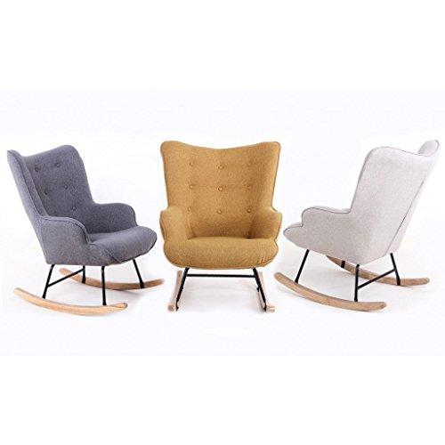 Zons Fauteuil à Bascule Rocking Chair H92X100X68CM Beige