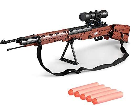 MODELTRONIC Rifle Mauser 98K de 653 Bloques de Piezas Tipo technic con Disparo proyectiles compatibles con nerf Cada C61010W