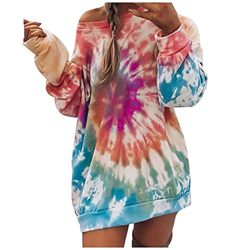 zhanxin Womens Tie-dye Printed Hoodies Casual Loose Sexy Top Round Neck Long-Sleeve Long Sweatshirts Autumn Elegant Hoodies Top Red