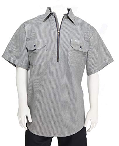 W S Blue Collar Herren Hemd, kurzärmelig, 30,5 cm, Reißverschluss vorne, Hickory-Streifen, Logger-Shirt, Größe L