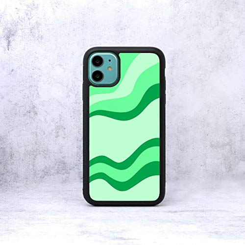 70's Groovy Lines Phone Case/Cover Compatible with (iPhone 6 / 6S, Green)
