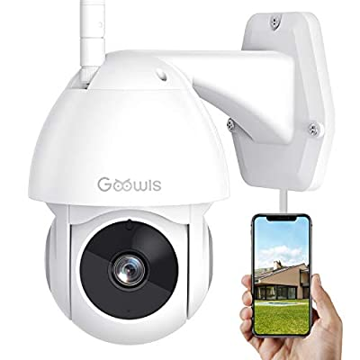 Security Camera Outdoor, Goowls 1080P HD Pan/Tilt WiFi Home Surveillance IP Camera with Waterproof Night Vision 2-Way Audio Motion Detection Activity Alert Cloud Service Works with Alexa
