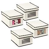 mDesign Set da 4 scatole portabiancheria – Scatole per armadi con coperchio e finestra trasparente – Scatola contenitore rettangolare in tessuto sintetico per vestiti e accessori – crema/marrone