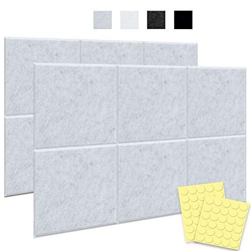 Seedream 12 Packs of Acoustic Panels with Mounting Tape, 12' X 12' X 0.4', Soundproof Panels Beveled Edge Tiles for Wall Decoration and Acoustic Treatment(Silvery Grey)