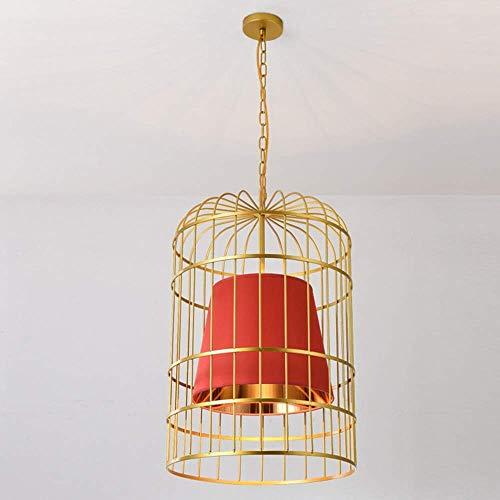 Iluminación colgante Lámpara de ara?a, lámpara de jaula de pájaros dorada, luz cálida, LED, hierro, artesanía, lámpara de techo, bar, restaurante, cafetería, tienda (color:rojo, tama?o:diámetro 50 cm)