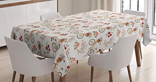 ABAKUHAUS Floreale Tovaglia, Biciclette Poppy Flowers, Rettangolare per Sala da Pranzo e Cucina, 140 x 240 cm, Multicolore