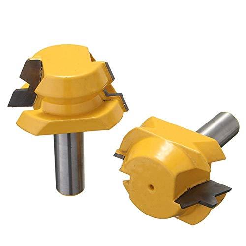 ViewSys Perforar 2pcs 22,5 Grado de Bloqueo de inglete Router bits Puestos de Bloqueo de inglete carpintería cortadores de caña de 1/2 Pulgada Accesorios del Taladro
