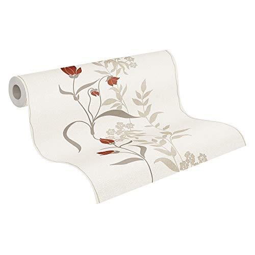 A.S. Création Vliestapete Avenzio Blumentapete floral 10,05 m x 0,53 m creme rot beige 958741 95874-1