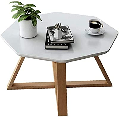 Selected Furniture/Coffee Table Solid Wood Round Coffee Table Living Room Polygonal Coffee Table Stylish Sofa Corner Table Office Casual Tea Table Durable (Color : White, Size : 60X45CM)