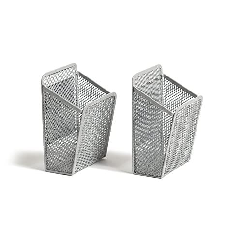 U Brands Magnetic Gray Mesh Locker Cups, Organizational Supplies, 2 Pieces