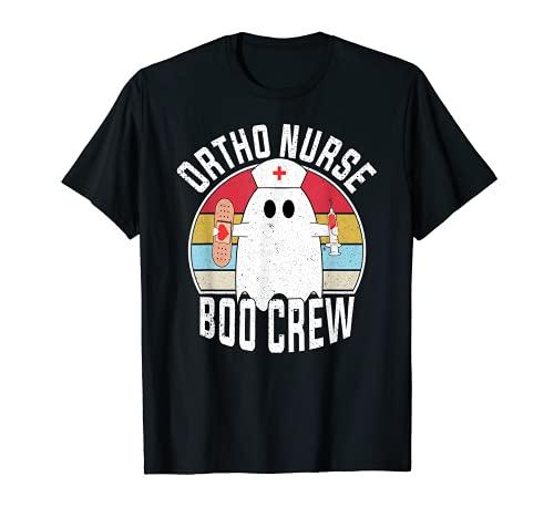 Ortho Nurse Boo Crew Ghost Divertido Retro Enfermera Halloween Camiseta
