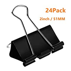 "Package Includes - 24 pieces; 0.8"" capacity; 2"" Width Strong Material - Our bind clips are made of tempered steel, durable and rust-resistant Why You Need It - Spring-tight clip helps to keep large stacks of loose paper securely fastened together Wid..."