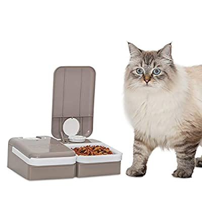 PetSafe Automatic 2 Meal Pet Feeder with Battery Powered Programmable Timer, 3 Cups Total Capacity, Cat and Small to Medium Dog Food Dispenser