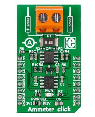 MikroElektronika, Entwicklungsbausatz Spannungsregler, Ammeter Click, Strommessung fur AD8616, MAX6106, MCP3201,