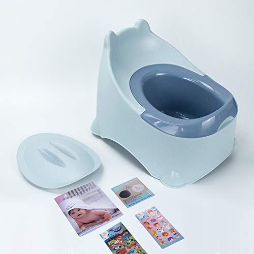 BISOO Vasino per Bambini - WC Vasetto - Neonati + 2 Anni - Per Bimbe e Bimbi- Toilette Compatta e Portatile - Facile da Pulire - Colori Eleganti - Include 3 Regali (Blu)