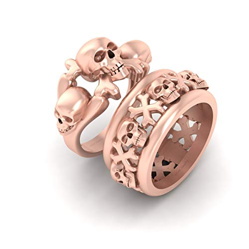Matching Skull and Crossbones Couple Rings Gothic Skull Engagement Ring Band Set Rose Gold Fn 925 Sterling Silver