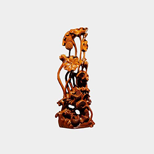 jinyi2016SHOP Escultura Ornamentos Decoración de la Mesa de Madera de Loto y Pescado, decoración del hogar del Regalo del Festival de artesanía clásico de Loto de Madera Decoración de Estatua