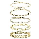 Gold Chain Bracelet Sets for WomenGirls 14K Gold Plated Dainty Link Paperclip Choker Bracelet Stack Gold Small Ball Beads Bracelets AdjustableLayered Metal Link Bracelet (Style-2)
