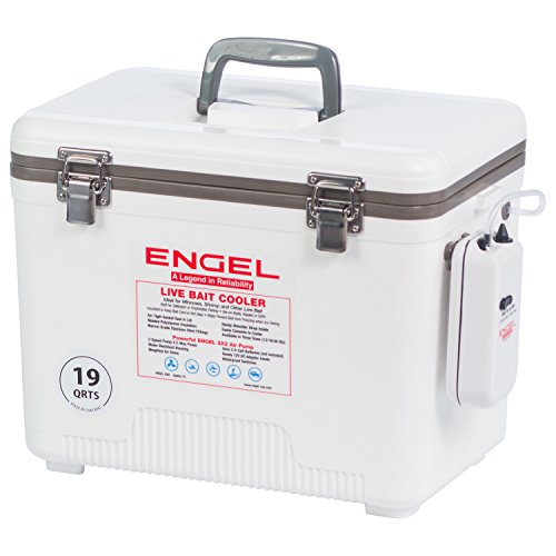 Engel Coolers 13 Quart Live Bait Cooler/Dry Box with Air Pump, White