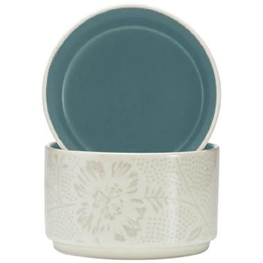 Noritake Colorwave Bloom Stacking Bowl, Turquoise Blue, Set of 2