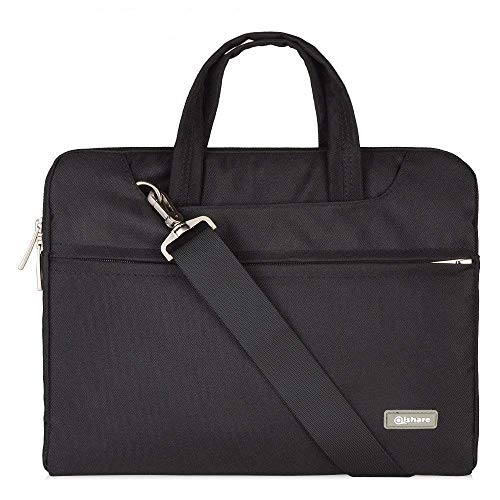 Qishare 13,3-14-Zoll-Laptoptasche,multifunktionale Polyester-Laptoptasche, Verstellbarer Schultergurt und unterdrückter Griff, tragbarer Dokumentenordner (13,3-14Zoll, schwarz)