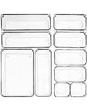 MUHOO Zestaw 10 antypoślizgowych wkładek do szuflad, organizer, pudełka do przechowywania na biurko, toaletkę, przezroczyste tworzywo sztuczne