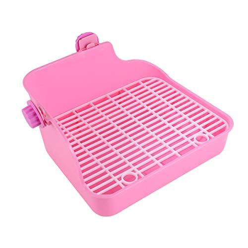 Balacoo Eckstreu Bettwäsche Box Kleintierstreu Pfanne Haustier Toilette Töpfchen Trainer für Kaninchen Hamster Frettchen Haustier (Rosa Zufällige Schraubenfarbe)