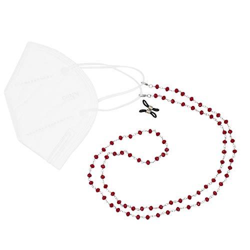 Feliss Collar para mujer con cadena de gafas de cristal multicolor de 70 cm de color rojo