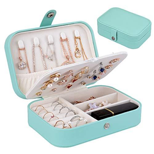 homchen Reise-Schmuck-Organizer Tasche, Schmuckaufbewahrung für Armbänder, Ohrringe, Ringe, Halskette (Tiffany Blau)