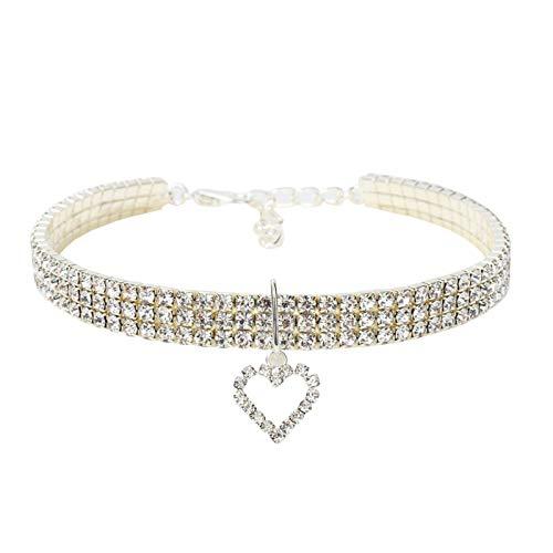 WINSTON-UK Collar ajustable para perro, cachorro, gato, 3 filas de diamantes de imitación de cristal con colgante de corazón de amor (30 cm)