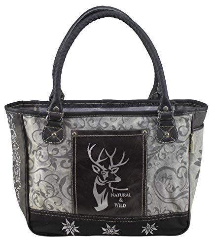Domelo Tracht Damen Trachtentasche Dirndltasche große Shopper Handtasche Handgelenktasche Vintage Frauen Tasche Canvastasche traditionell Wiesn Oktoberfest