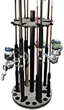 Rush Creek Creations Round Spinning 24 Fishing Rod Rack with Dual Rod Clips, Barn Wood