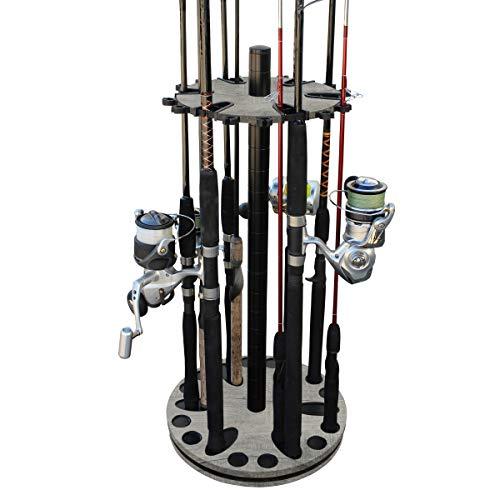 Rush Creek Creations 24 Round Spinning Fishing Rod Rack - Fishing Pole Holder and Storage, Barn Wood