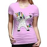 Classic Cotton Funny Magic Unicorn Damen Basic Kurzarm T-Shirt Schwarz Gr. M, rose