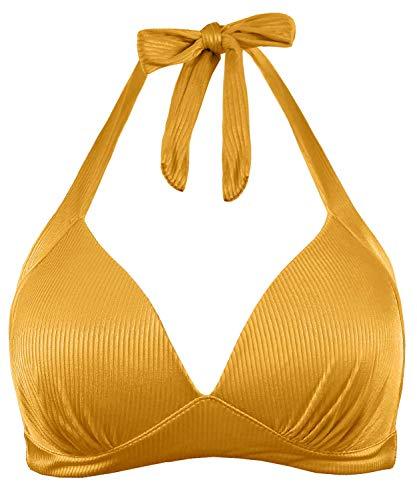 Balasami Women's Retro 50s Plaid Pattern Polka Dot Halter Molded Soft Pads Vintage Bikini Swimsuits Tops (M, Golden Yellow)