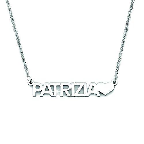 Beloved - Collar de mujer, gargantilla con nombre en acero, longitud ajustable, hipoalergénico, colgante para mujer, color plateado