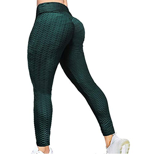 Mallas Deportivas Mujer Fitness Color sólido Panal Arrugado Leggins Mujer Push Up para Yoga Fitness Transpirables Elegantes Ropa Deporte Mujer
