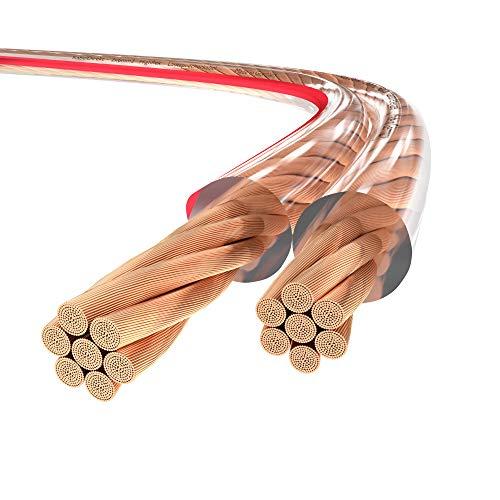 KabelDirekt – Cable de Altavoz de Alta Gama «Made in Germany» – 15m – (2 Cables de Altavoz HiFi Audio de 6mm², de Cobre Puro, con Hilos de 0,1mm para una Alta flexibilidad y con Marcas de polaridad)