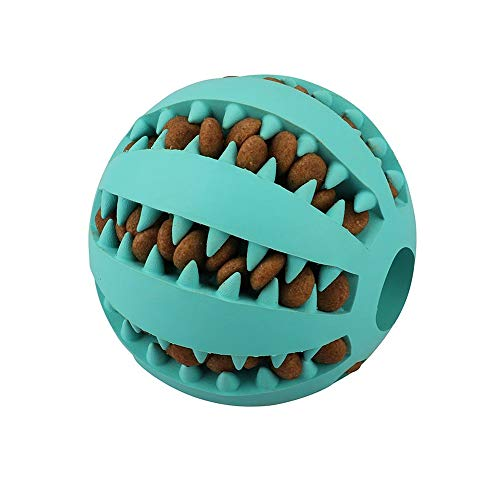 QINUKER Dog Ball Toys Pet Cat, Chew Toy Interactivo Durable, Dientes Fuertes, Masticar Jugar IQ Training Suave, mordedura de Goma Natural, Small Medium Puppy, Azul