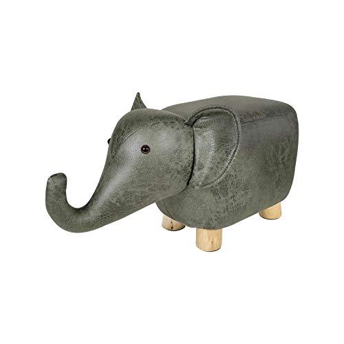 hamacy Tierhocker für Kinder, Kinderhocker Gepolstert Fußhocker, Sitzbank Fußbank für Kinderzimmer, Wohnzimmer, Schlafzimmer-Elefantenbaby (Vintage grün)