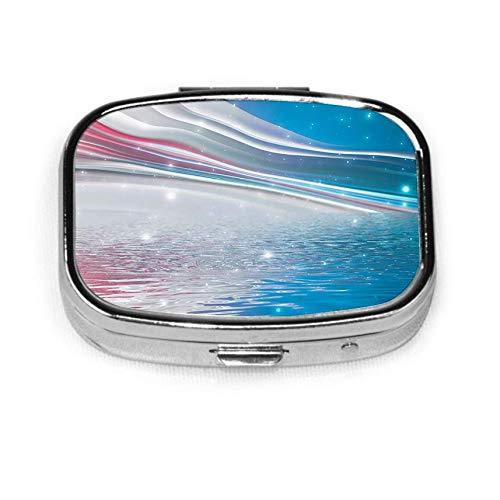 Abstract Futuristic Sea Landscape Light Neon Lines Seashore M Mens Pocket Pill Box Pill Box Tablet Holder Wallet Organizer Case for Pocket Or Purse