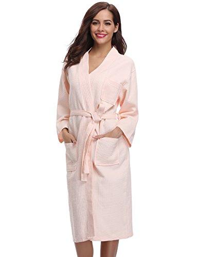 Aibrou Damen Bademantel Saunamantel Frottee Lang Baumwolle Morgenmantel Nachtwäsche Homewear Kleidung V Ausschnitt Rosa M