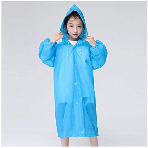 MULMF 2 stuks Eva materiaal goede zachtheid en elastisch elastisch Eva regenjas regen poncho transparante hoodie waterdicht kind wegwerpartikel (blauw)