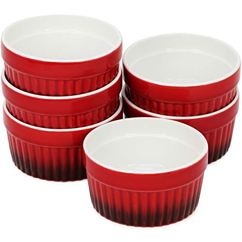 com-four® 6x Ragout Fin Schale - Ofenfeste Förmchen in rot - Creme Brulee Schälchen - Dessertschale mit je 185 ml
