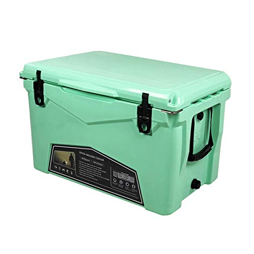 Xspec 60 Quart Roto Molded High Performance Pro Tough Outdoor Ice Chest Cooler, Durable Stylish with Bottle Openers, Vacuum Release Valve and Easy Snap Tight Latches, Seafoam