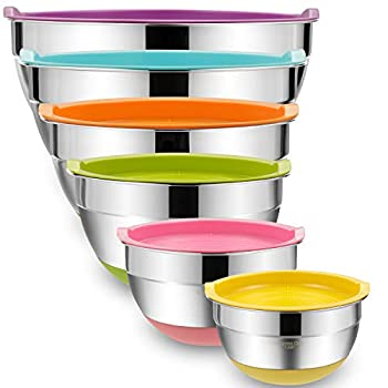 Mixing Bowls with Airtight Lids 6 piece Stainless Steel Metal Bowls by Umite Chef Colorful Non-Slip Bottoms Size 7 3.5 2.5 2.0,1.5 1QT Great for Mixing & Serving