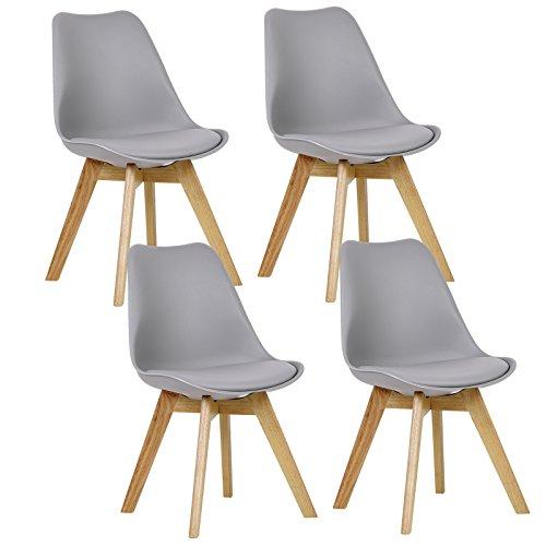 WOLTU® 4er Set Esszimmerstühle Küchenstuhl Design Stuhl Esszimmerstuhl Kunstleder Holz Grau BH29gr-4
